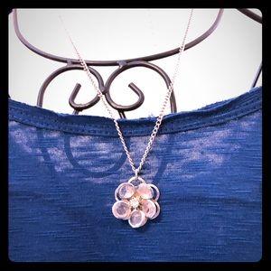 Pretty Silver Flower Necklace